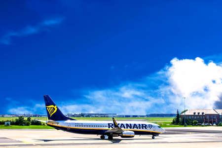 Berlin, Germany - August 09, 2017: Ryanair airplane in Airport