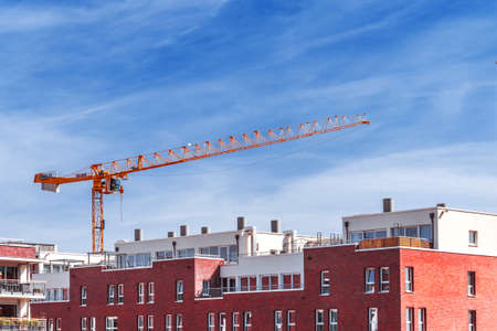 Rostock, Germany - April 07, 2017: Construction site with crane 新聞圖片