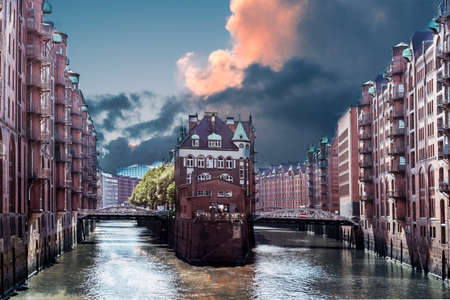 Hamburg warehouse district with dramatic sky. Hamburg landmarks. hafencity Germany