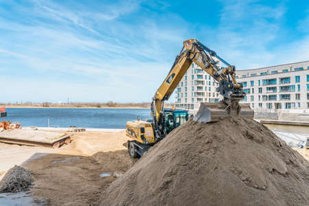 Rostock, Germany - April 07, 2017: Construction site with excovator