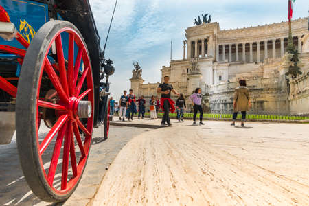 Roma, Italy - april 17, 2018: View to Vittoriano building on the Piazza Venezia in Rome, Italy