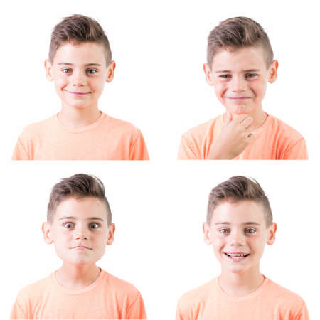 Portrait set of a cute happy smiling boy isolated on white background. Funny emotional teenager looking at camera.
