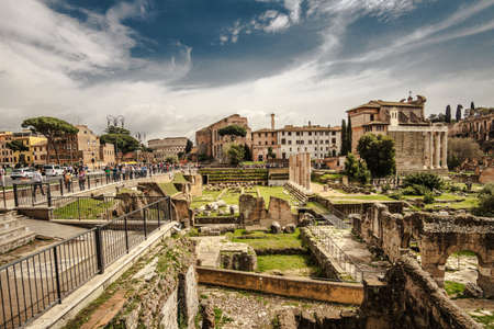 Rome, Italy - april 17, 2018: Roman Forum, Italy. Forum Romanum attractions in Rome, Italy capital landmarks. Travel and tourism