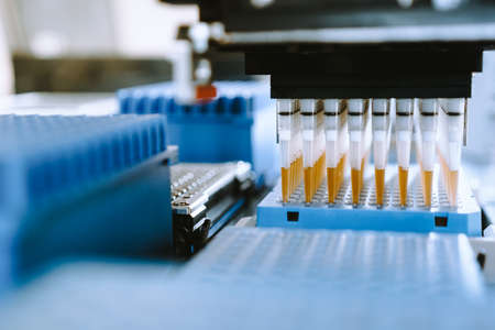 Automation in the clinical laboratory. Pipetting robot laboratory. Medicine robotics. NGS DNA diagnostics. Research and science background Stock Photo