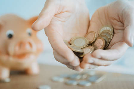 Female hands holding euro coins next to the piggy bank. Investment and savings concept Standard-Bild