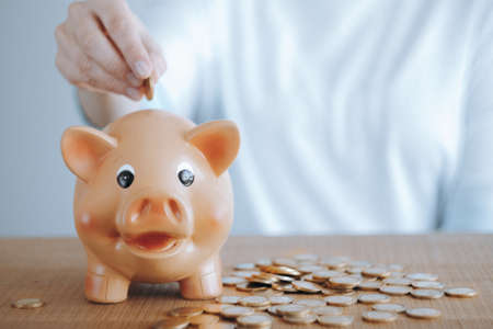 Female hand putting euro coin into a piggy bank. Investment and savings concept. Standard-Bild