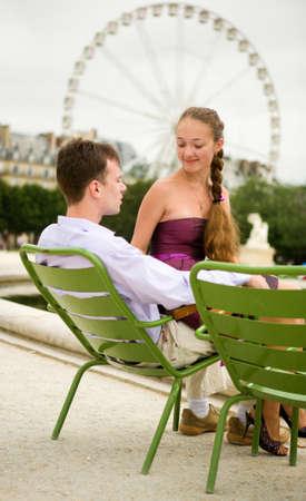 Romantic couple in Paris in Tuileries garden Stock Photo - 9896943