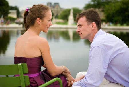 Romantic couple in Paris in the Tuileries garden Stock Photo - 9896951