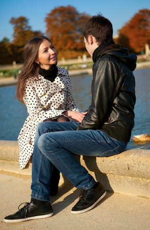 jardin de luxembourg: Young beautiful couple in the Luxembourg garden at fall. Paris, France Stock Photo