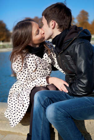 Romantic couple outdoors, kissing Stock Photo - 9896949