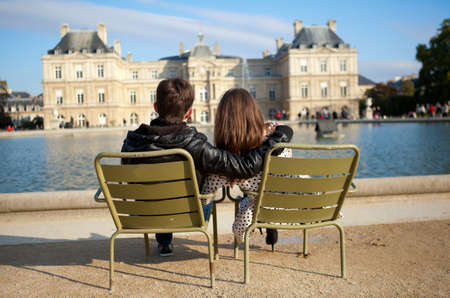 Dating couple in the Luxembourg garden of Paris photo
