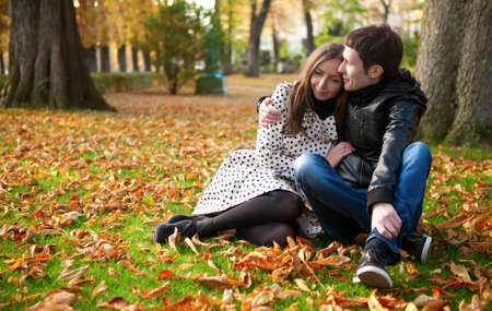 Young beautiful couple in the Luxembourg garden at fall. Paris, France Stock Photo