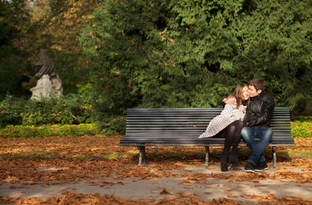 Romantic couple in the Luxembourg garden at fall. Paris, France Banco de Imagens