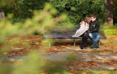 Romantic couple in the Luxembourg garden at fall. Paris, France photo
