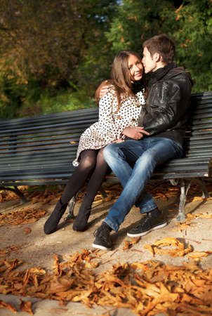 Romantic couple at fall, dating photo