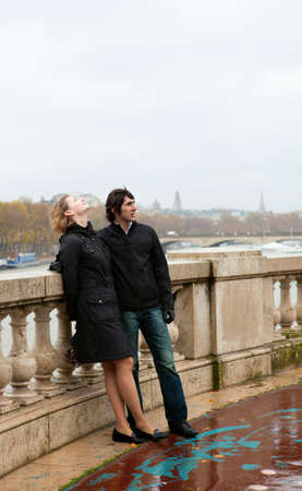 Dating couple in Paris at rainy weather Stock Photo - 9897003