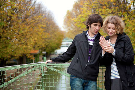 Dating couple in Paris on canal Saint-Martin Stock Photo - 9897020