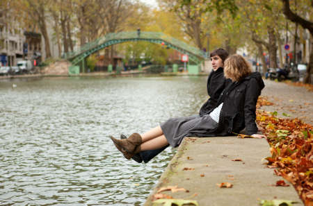 Dating couple in Paris on canal Saint-Martin Stock Photo - 9896988