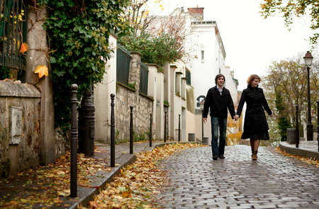 paris street: Couple in Paris at Montmartre