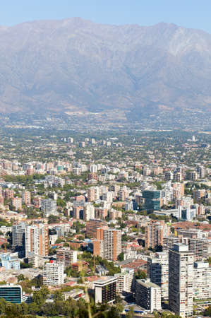 cristobal: Cityscape of Santiago from St. Cristobal hill. Chile, South America