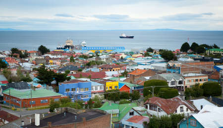 Beautiful view of Punta Arenas with the Strait of Magellan