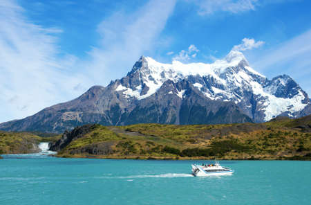 torres del paine: Scenic view of Pehoe lake and Salto Grande waterfall in Torres del Paine national park of Chile