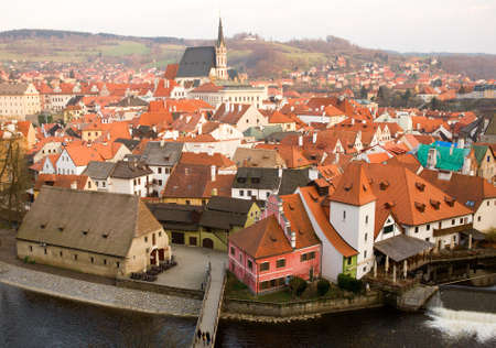 birdseye view: Birds-eye view of Cesky Krumlov in Czech Republic