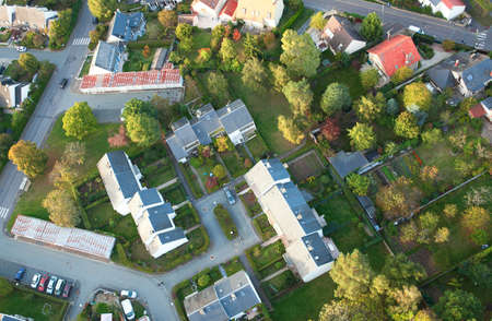 Aerial view of small French village in Ile-de-France Stock Photo
