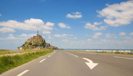 Mont Saint-Michel, rocky tidal island in Normandy, France photo