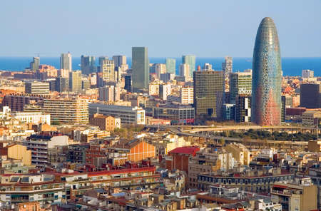 barcelona city: Birds eye view of the Agbar Tower in Barcelona (Spain)