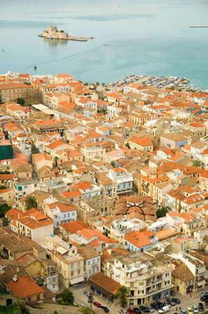 bourtzi: Birds-eye view of Nafplion center, a greek town at Peloponnese peninsula. Photo taken from the Palamidi castle