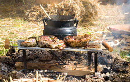 caldron: Traditional campfire cooking  Stock Photo