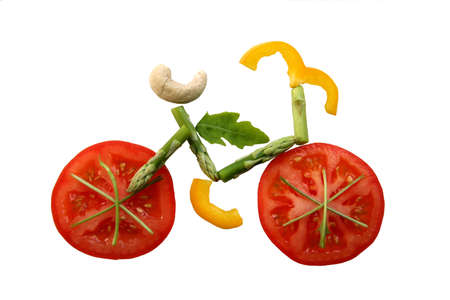 nutrition health: Sliced vegetables in form of a bicycle