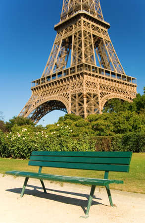 Bench near the Eiffel Tower photo
