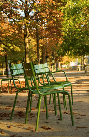 Autumn in Paris. Typical parisian park chairs in the Luxembourg Garden. Paris, France   photo