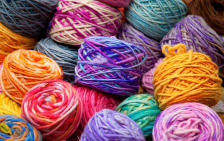 Background of colorful wool skeins