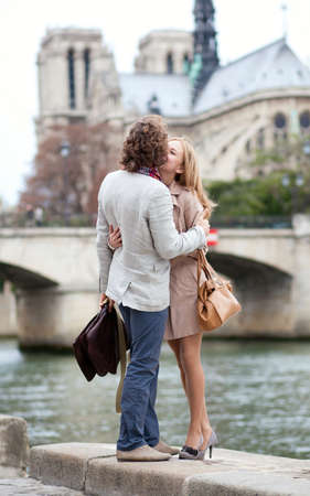 Romantic couple in Paris kissing Stock Photo - 10834624
