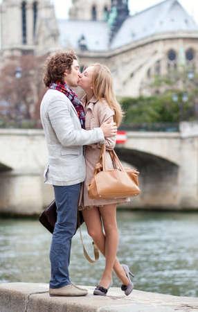 Romantic couple in Paris kissing