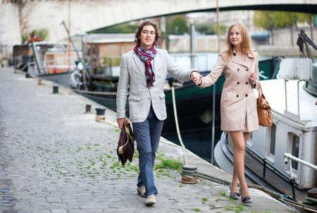Romantic couple in Paris at the embankment Stock Photo - 10834639