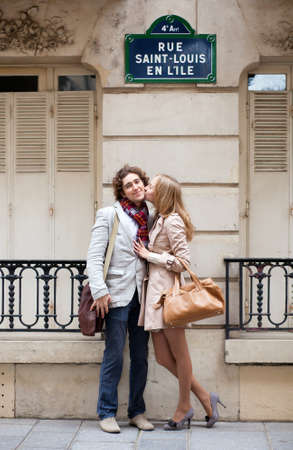 Romantic couple in Paris on the St. Louis island photo