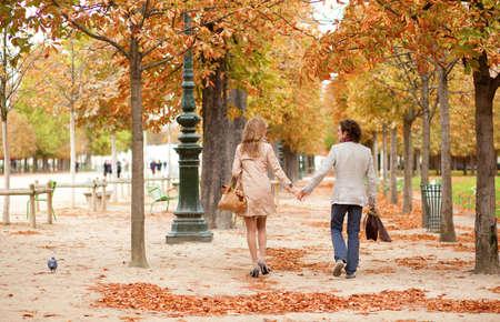 Romantic couple in Paris, having a date at fall