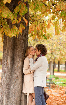 Romantic couple dating at fall photo