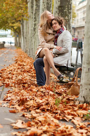 Romantic couple dating at fall Banco de Imagens