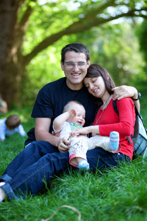 Happy family of three having fun together Stock Photo - 11258357