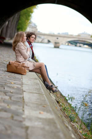Romantic couple in Paris, having a date photo