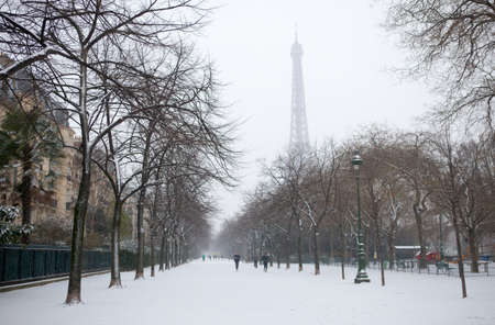 Winter in Paris. Eiffel tower and Champ de Mars covered with snow