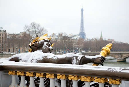 europe closeup: Winter in Paris. Pont Alexandre III under snow Stock Photo