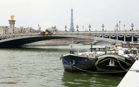 iii: Winter in Paris. View of the Pont Alexandre III and boats