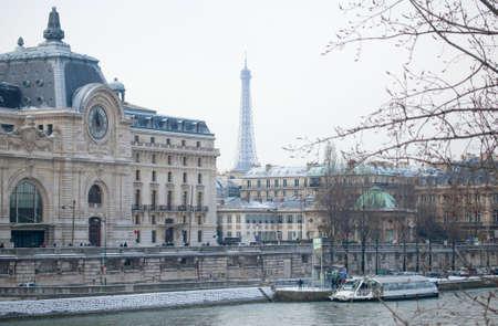 Winter in Paris. Embankments under snow Reklamní fotografie