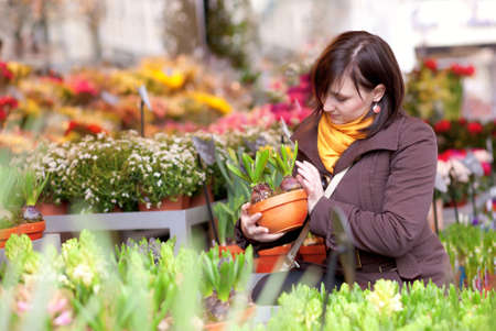 brune: Beautiful girl selecting flowers at market Stock Photo